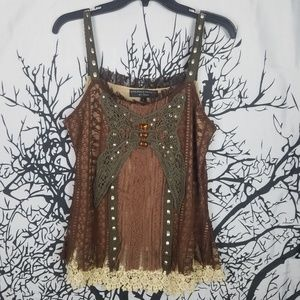 Boho Butterfly Brown, Tan & Green Tank Top large
